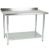 Steelton 30 inch x 48 inch 18 Gauge 430 Stainless Steel Work Table with Undershelf and 2 inch Rear Upturn