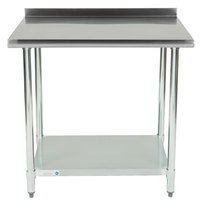 18 Gauge Economy 30 inch x 36 inch 430 Stainless Steel Work Table with Undershelf and 2 inch Rear Upturn