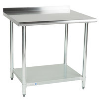 Steelton 30 inch x 36 inch 18 Gauge 430 Stainless Steel Work Table with Undershelf and 2 inch Rear Upturn