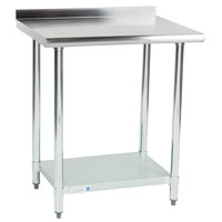 Steelton 24 inch x 30 inch 18 Gauge 430 Stainless Steel Work Table with Undershelf and 2 inch Rear Upturn