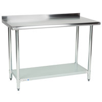 Steelton 24 inch x 48 inch 18 Gauge 430 Stainless Steel Work Table with Undershelf and 2 inch Rear Upturn