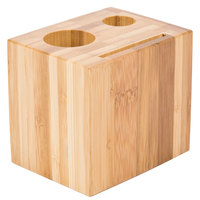 American Metalcraft WBB 3 1/2 inch x 2 3/4 inch Bamboo Block Check Presenter