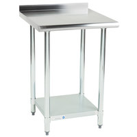 Steelton 24 inch x 24 inch 18 Gauge 430 Stainless Steel Work Table with Undershelf and 2 inch Rear Upturn