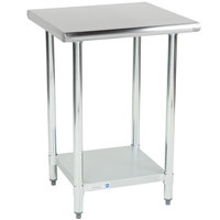 Steelton 24 inch x 24 inch 18 Gauge 430 Stainless Steel Work Table with Undershelf