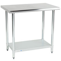 Steelton 24 inch x 36 inch 18 Gauge 430 Stainless Steel Work Table with Undershelf