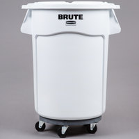 Rubbermaid BRUTE 44 Gallon White Ingredient Bin / Trash Can, Lid, and Dolly Kit