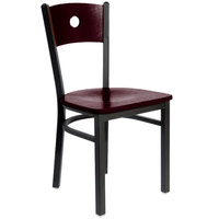 BFM Seating 2152CMHW-MHSB Darby Sand Black Metal Side Chair with Mahogany Wooden Back and Seat