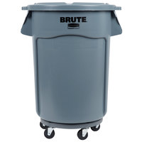 Rubbermaid BRUTE 44 Gallon Gray Trash Can, Lid, and Dolly Kit