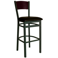 BFM Seating 2150BDBV-MHSB Dale Sand Black Metal Bar Height Chair with Mahogany Finish Wooden Back and 2 inch Dark Brown Vinyl Seat