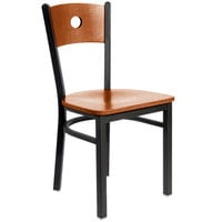 BFM Seating 2152CCHW-CHSB Darby Sand Black Metal Side Chair with Cherry Wooden Back and Seat
