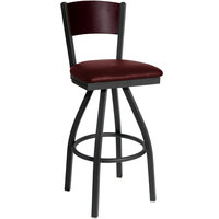 BFM Seating 2150SBUV-MHSB Dale Sand Black Metal Swivel Bar Height Chair with Mahogany Finish Wooden Back and 2 inch Burgundy Vinyl Seat