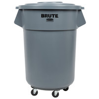 Rubbermaid BRUTE 55 Gallon Gray Trash Can, Lid, and Dolly Kit