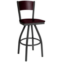 BFM Seating 2150SMHW-MHSB Dale Sand Black Metal Swivel Bar Height Chair with Mahogany Finish Wooden Back and Seat