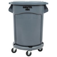 Rubbermaid BRUTE 20 Gallon Gray Trash Can, Lid, and Dolly Kit