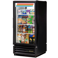 True GDM-10PT-LD Black Glass Door Pass-Through Refrigerated Merchandiser with LED Lighting - 10 cu. ft.