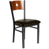 BFM Seating 2152CDBV-CHSB Darby Sand Black Metal Side Chair with Cherry Wooden Back and 2 inch Dark Brown Vinyl Seat