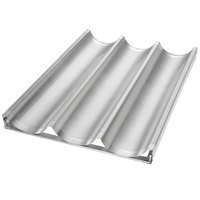 Chicago Metallic 49011 Glazed Welded Uni-Lock Customizable Baguette / French Bread Pan - 3 Molds