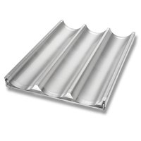 Chicago Metallic 49011 Glazed Welded Uni-Lock Baguette / French Bread Pan - 3 Molds