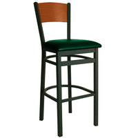 BFM Seating 2150BGNV-CHSB Dale Sand Black Metal Bar Height Chair with Cherry Finish Wooden Back and 2 inch Green Vinyl Seat