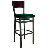BFM Seating 2150BGNV-MHSB Dale Sand Black Metal Bar Height Chair with Mahogany Finish Wooden Back and 2 inch Green Vinyl Seat