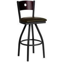 BFM Seating 2152SDBV-MHSB Darby Sand Black Metal Bar Height Chair with Mahogany Wooden Back and 2 inch Dark Brown Vinyl Swivel Seat