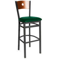 BFM Seating 2152BGNV-CHSB Darby Sand Black Metal Bar Height Chair with Cherry Wooden Back and 2 inch Green Vinyl Seat