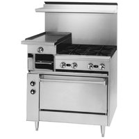 Blodgett BRB-12G-4-36C Liquid Propane 4 Burner 36 inch Manual Range with Left 12 inch Raised Griddle / Broiler and Convection Oven Base - 190,000 BTU
