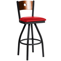 BFM Seating 2152SRDV-CHSB Darby Sand Black Metal Bar Height Chair with Cherry Wooden Back and 2 inch Red Vinyl Swivel Seat