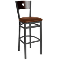 BFM Seating 2152BLBV-WASB Darby Sand Black Metal Bar Height Chair with Walnut Wooden Back and 2 inch Light Brown Vinyl Seat