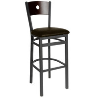 BFM Seating 2152BDBV-WASB Darby Sand Black Metal Bar Height Chair with Walnut Wooden Back and 2 inch Dark Brown Vinyl Seat