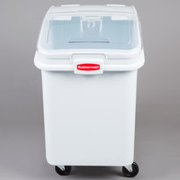 Rubbermaid FG360388WHT ProSave 30.8 Gallon / 490 Cup White Slant Top Mobile Ingredient Storage Bin with Sliding Lid & Scoop