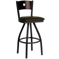 BFM Seating 2152SDBV-WASB Darby Sand Black Metal Bar Height Chair with Walnut Wooden Back and 2 inch Dark Brown Vinyl Swivel Seat