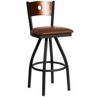 BFM Seating 2152SLBV-CHSB Darby Sand Black Metal Bar Height Chair with Cherry Wooden Back and 2 inch Light Brown Vinyl Swivel Seat