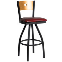 BFM Seating 2152SBUV-NTSB Darby Sand Black Metal Bar Height Chair with Natural Wooden Back and 2 inch Burgundy Vinyl Swivel Seat
