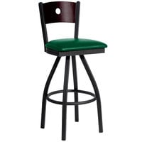 BFM Seating 2152SGNV-MHSB Darby Sand Black Metal Bar Height Chair with Mahogany Wooden Back and 2 inch Green Vinyl Swivel Seat