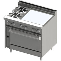 Blodgett BR-2-24GT Natural Gas 2 Burner 36 inch Thermostatic Range with Right Side 24 inch Griddle and Cabinet Base - 108,000 BTU