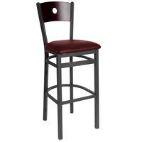 BFM Seating 2152BBUV-MHSB Darby Sand Black Metal Bar Height Chair with Mahogany Wooden Back and 2 inch Burgundy Vinyl Seat