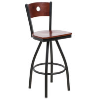 BFM Seating 2152SMHW-MHSB Darby Sand Black Metal Bar Height Chair with Mahogany Wooden Back and Swivel Seat