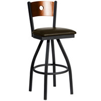 BFM Seating 2152SDBV-CHSB Darby Sand Black Metal Bar Height Chair with Cherry Wooden Back and 2 inch Dark Brown Vinyl Swivel Seat