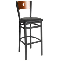 BFM Seating 2152BBLV-CHSB Darby Sand Black Metal Bar Height Chair with Cherry Wooden Back and 2 inch Black Vinyl Seat