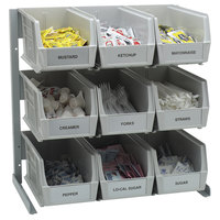 Carlisle 381109LG 18 inch x 12 inch x 19 inch Aluminum 3-Tier Packet Rack with 3.5 Qt. Gray Compartment Bins