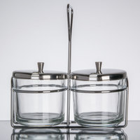 2 Compartment Wire Condiment Caddy with 7 oz. Glass Jars and Stainless Steel Lids