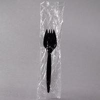Choice Individually Wrapped Medium Weight Black Plastic Spork - 100/Pack