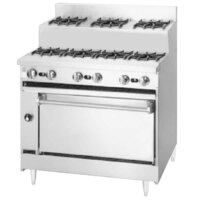 Blodgett BRE-4-3-36C Natural Gas 7 Burner 36 inch Step-Up Range with Convection Oven Base - 150,000 BTU