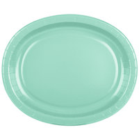 Creative Converting 318885 12 inch x 10 inch Fresh Mint Green Oval Paper Platter - 96/Case