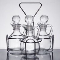 3 Compartment Wire Caddy with 6 oz. Glass Cruets and Stoppers