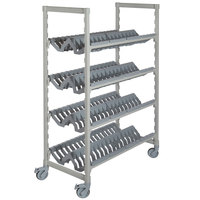 Cambro CPMU244875PDPKG Camshelving Premium Speckled Gray Angled Drying Rack Cart - 24 inch x 48 inch x 75 inch