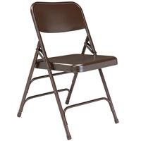 National Public Seating 303 Brown Premium Metal Triple-Brace Folding Chair