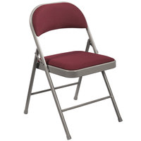National Public Seating 968 Commercialine Gray Metal Folding Chair with Burgundy Padded Fabric Seat
