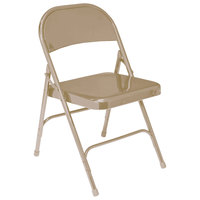 National Public Seating 51 Beige Metal Folding Chair